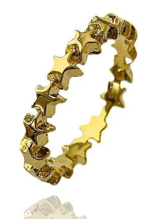 Anel aparador estrela lisa dourada