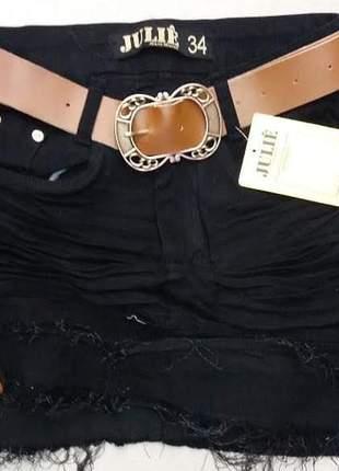 Saia jeans cintura alta preto da julie promoção verão