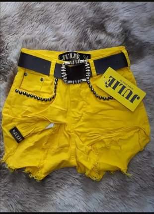 Short jeans cintura alta amarelo julie promoção verão