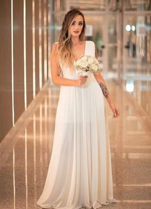 Vestido noiva longo fluido noivado casamento pré - wedding