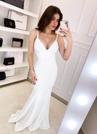 Vestido longo festa sereia casamento civil pré-weding