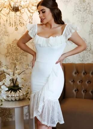 Vestido midi casamento civil cartório noivado festa batizado| bela