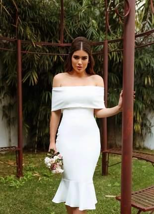 Vestido midi casamento cartório civil noivado festa batizado ombro a ombro