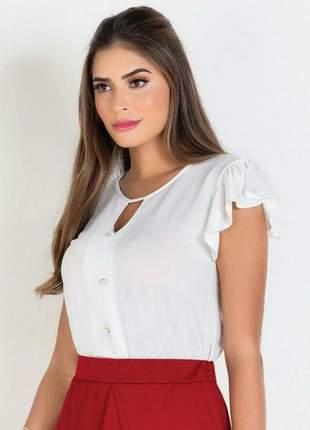 Blusa com botões off white moda evangélica