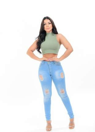 Calça jeans skinny moda feminina