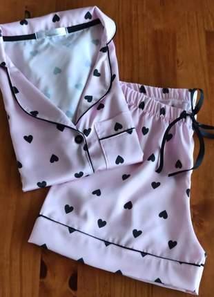 Pijama curto de cetim