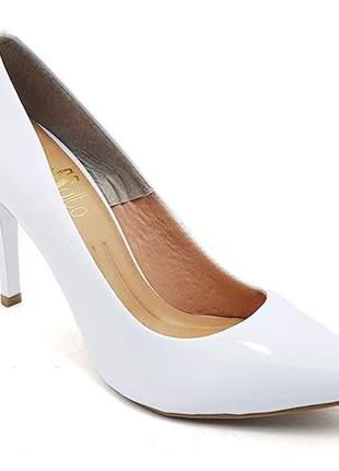 Sapato feminino scarpin sobressalto salto alto verniz branco