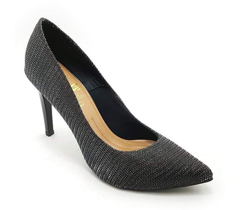 101e94ac40 Sapato feminino scarpin sobressalto salto alto lurex preto - R ...