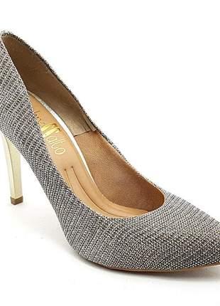 Sapato feminino scarpin sobressalto salto alto lurex dourado