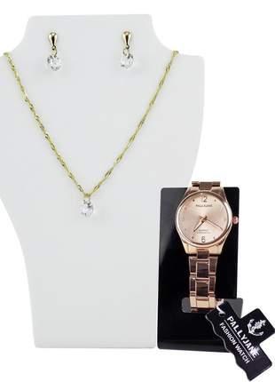 Relógio feminino pulseira de aço analógico modelo único + brinde