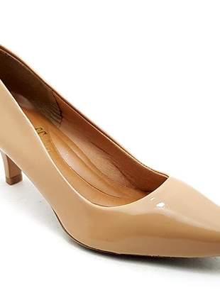 Sapato feminino scarpin sobressalto salto baixo verniz nude