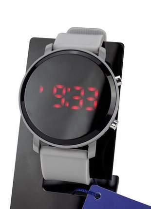 Relógio feminino pulseira de aço led modelo único redondo