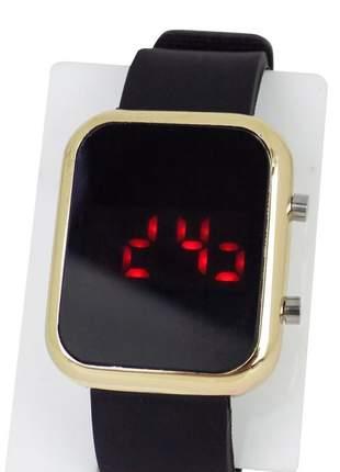 Relógio feminino pulseira de aço led modelo único retangular