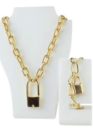 Corrente colar grossa dourada pingente cadeado + pulseira