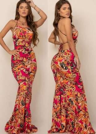 Vestido longo modelo sereia estampado