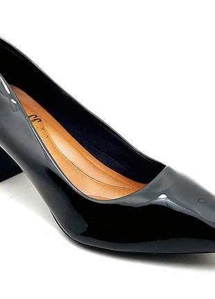 Sapato feminino scarpin sobressalto salto grosso verniz preto