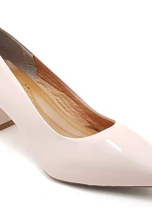 Sapato feminino scarpin sobressalto salto grosso verniz rosê