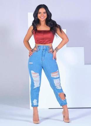 Calça jeans com detalhes em correntes