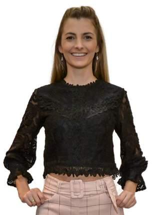 Blusa em renda manga longa preto
