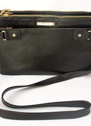 Bolsa com alça transversal regulável em couro legítimo modelo 20707