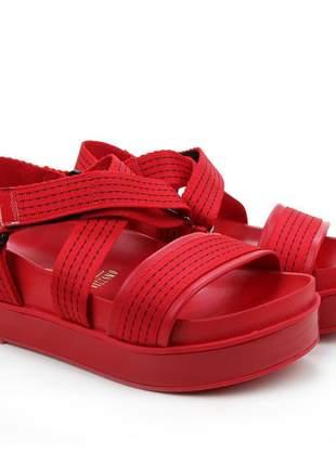 Sandália papete flatform casual vermelho feminino vizzano 6435107