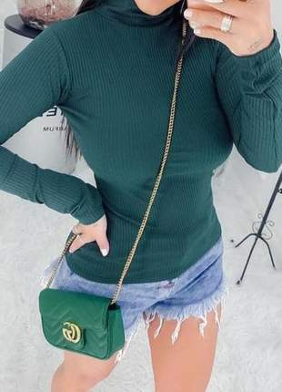Blusa cacharrel feminina gola alta canelada manga longa