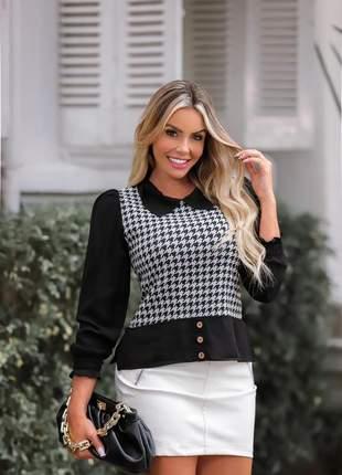 Colete feminino tricot lã pied poule pulôver xadrez