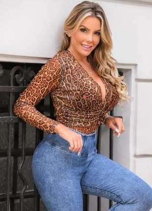 Body tule feminino manga longa onça