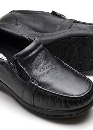 Mocassim sapatênis couro ortopédico antiderrapante super conforto