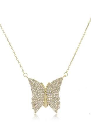 Colar borboleta com zirconia cristal