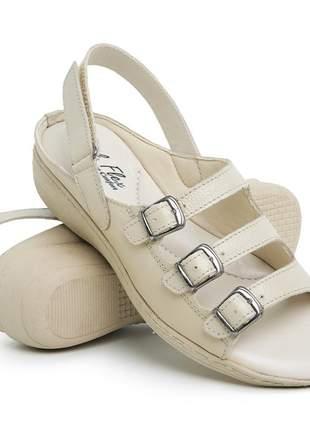Sandália ortopédica feminina confort em couro 182