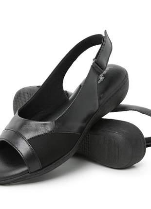 Sandália conforto ortopédica feminina em couro 187