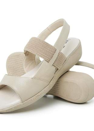 Sandália conforto ortopédica feminina couro 188