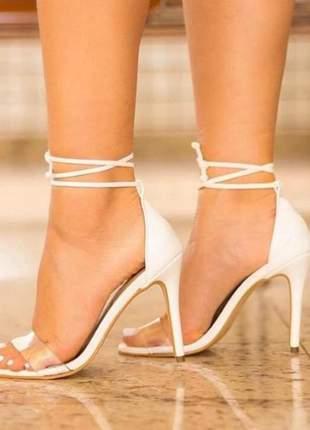 Sandália dina com vinil e duas amarrações branca