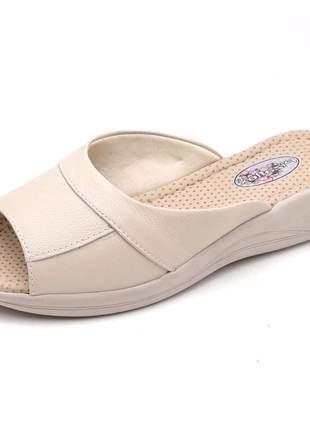 Sandália tamanco conforto feminina em couro 255