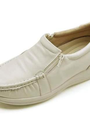 Sapato mocassim ortopédico feminino conforto em couro 901