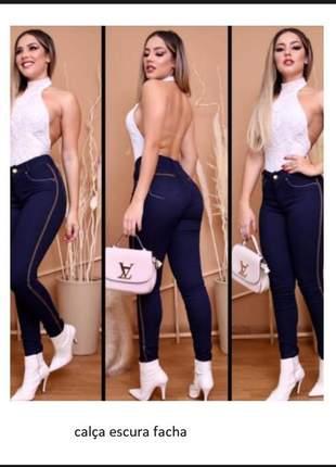 Calça feminina jeans cintura alta com lycra
