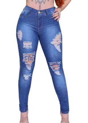 Calças cós alto feminina jeans até o umbigo modelagem levanta bumbum