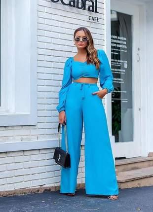 Calça pantalona azul pruciane lançamento exclusivo da moda feminina