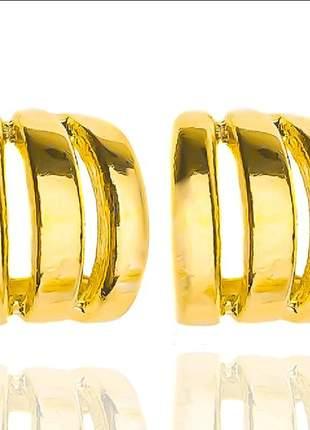 Brinco argola 3 fios dourada