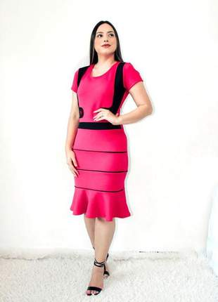 Vestido moda evangélica midi executiva cristã ref 729