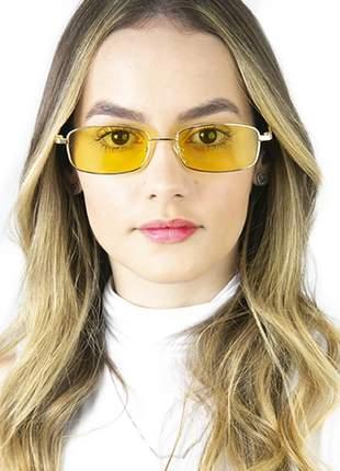 Óculos sol quadrado rêtro retangular vintage fino fininho