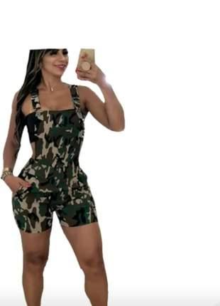 Macaquinho camuflado short suspensorio roupa feminina barato