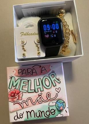 Relogio smartwatch várias funções +  caixa personaliza dias das mães + brinde