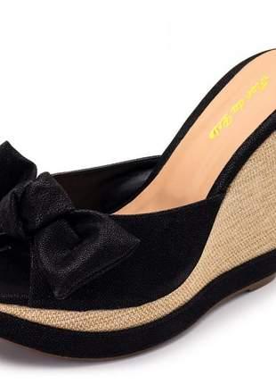 Sandália tamanco anabela salto alto feminina 3071