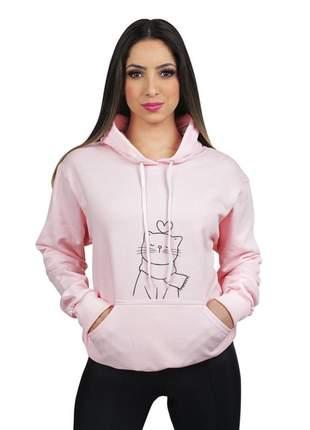 Blusa moletom flanelado feminino estampado gatinha 1300