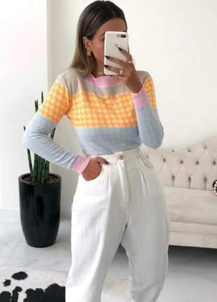 Blusa tricot pied poule xadrez colorida