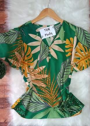 Blusa manga sino verde estampa floral