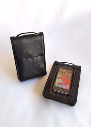 Bolsa em couro legítimo com alça transversal e porta celular modelo 21751