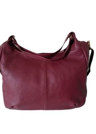 Bolsa de couro legítimo tipo sacola com alça transversal artesanal